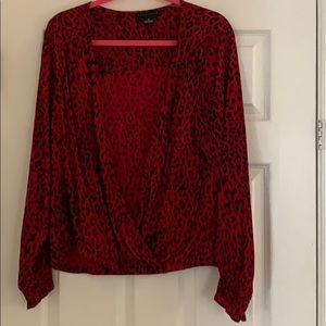 Red print worn only once blouse